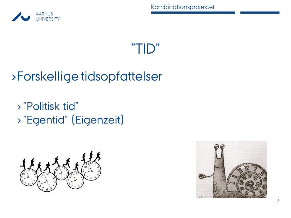 TID Forskellige tidsopfattelser Politisk tid Egentid (Eigenzeit)