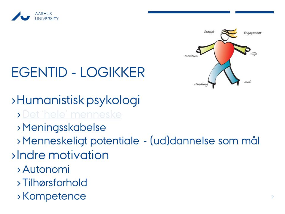 Egentid - logikker Humanistisk psykologi Indre motivation