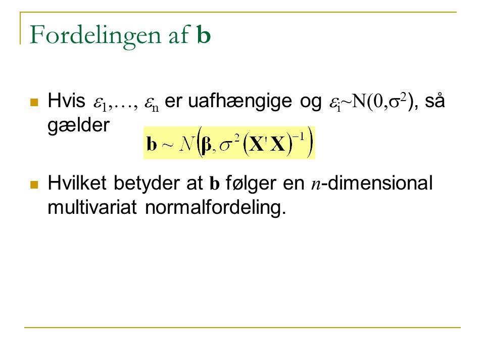 Fordelingen af b Hvis e1,…, en er uafhængige og ei~N(0,s2), så gælder