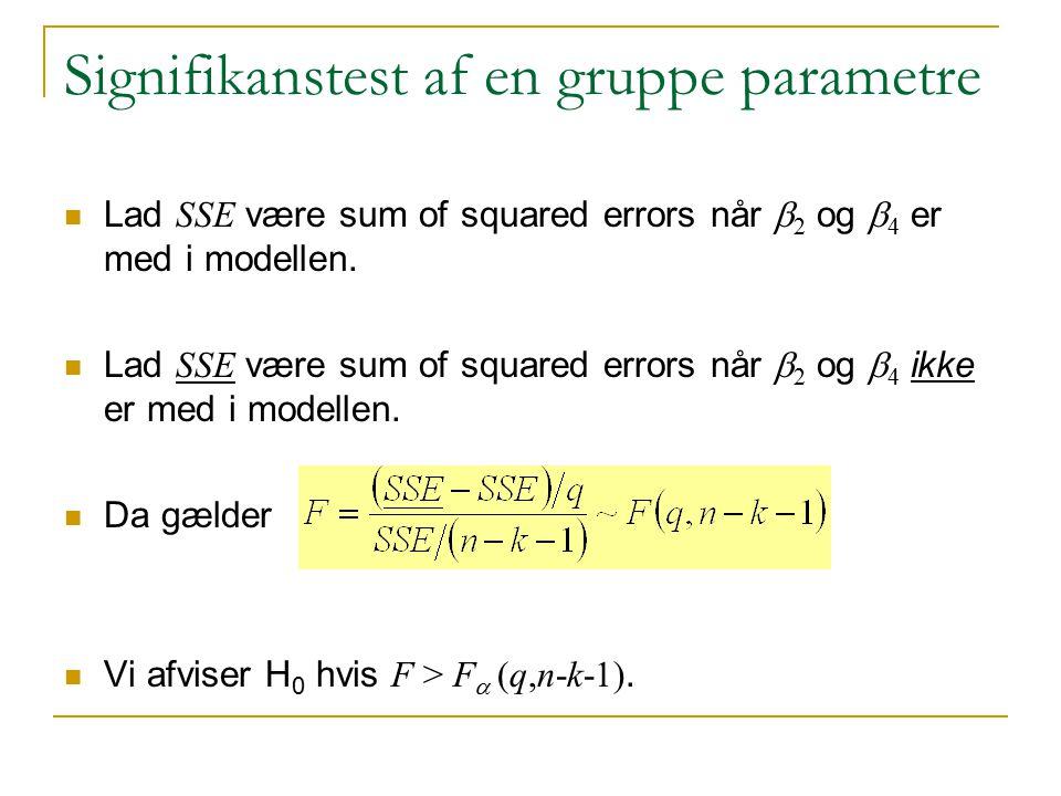 Signifikanstest af en gruppe parametre