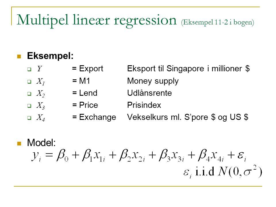Multipel lineær regression (Eksempel 11-2 i bogen)