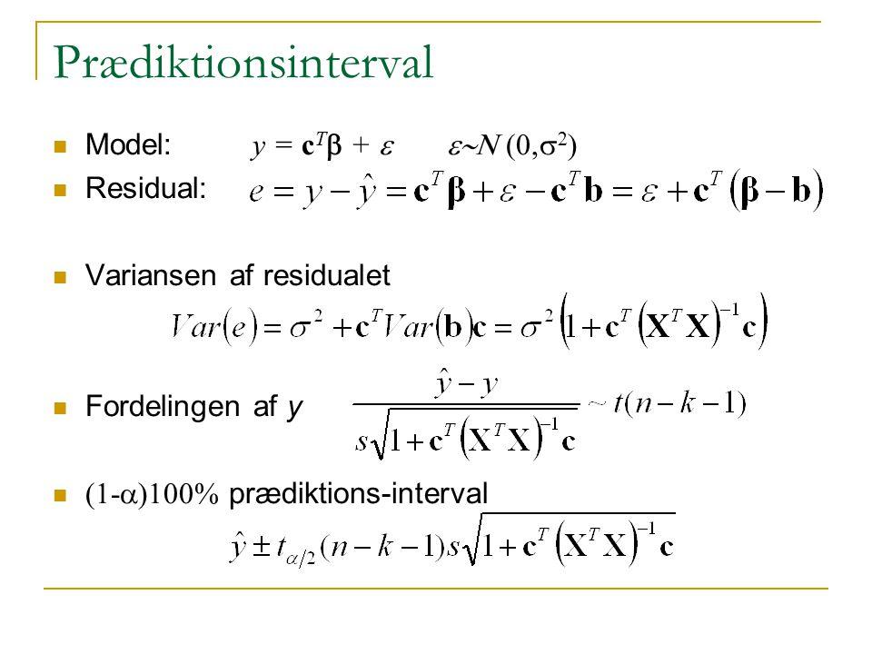Prædiktionsinterval Model: y = cTb + e e~N (0,s2) Residual: