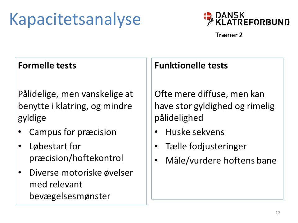 Kapacitetsanalyse Formelle tests