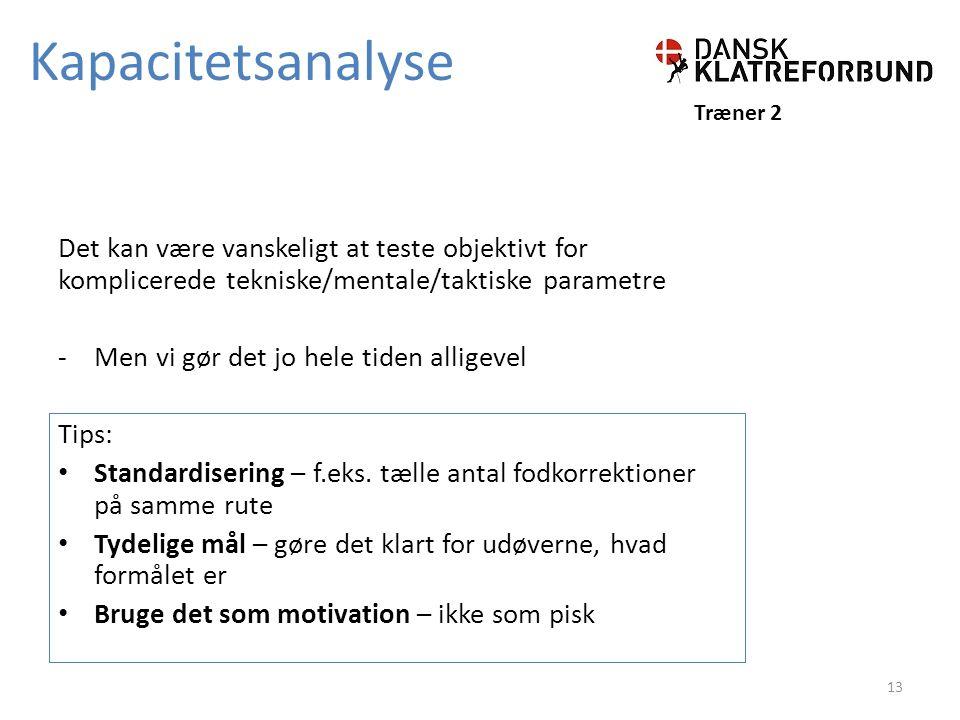 Kapacitetsanalyse Træner 2. Det kan være vanskeligt at teste objektivt for komplicerede tekniske/mentale/taktiske parametre.