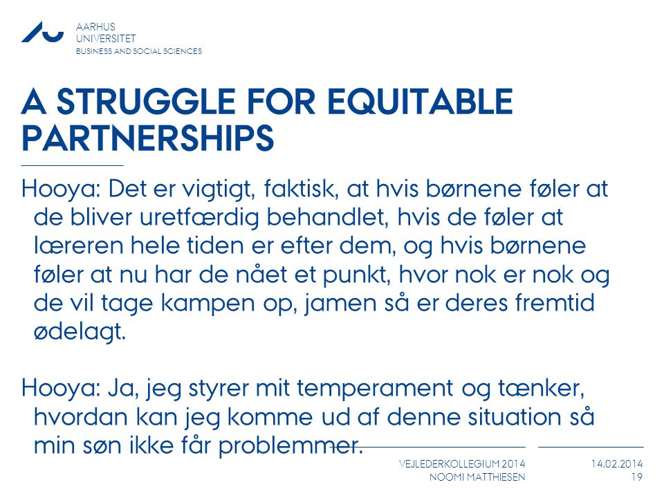 A struggle for equitable partnerships