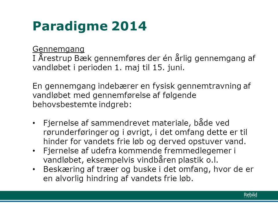 Paradigme 2014 Gennemgang. I Årestrup Bæk gennemføres der én årlig gennemgang af vandløbet i perioden 1. maj til 15. juni.