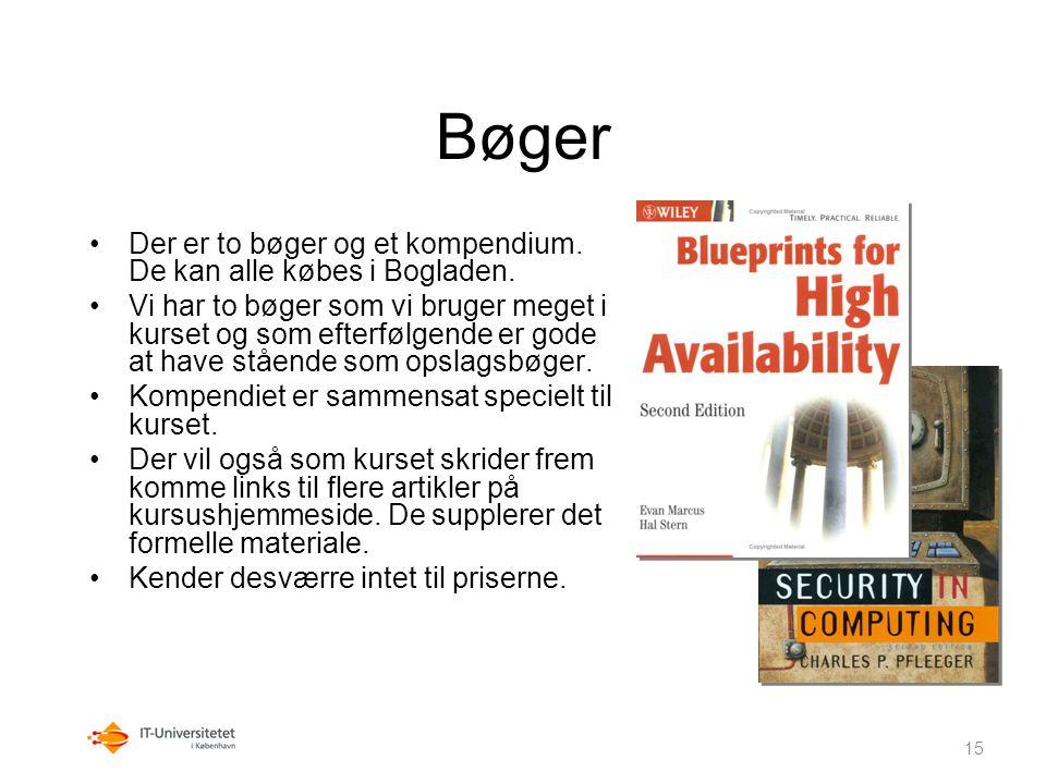 Bøger Der er to bøger og et kompendium. De kan alle købes i Bogladen.