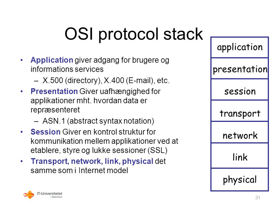 OSI protocol stack application presentation session transport network