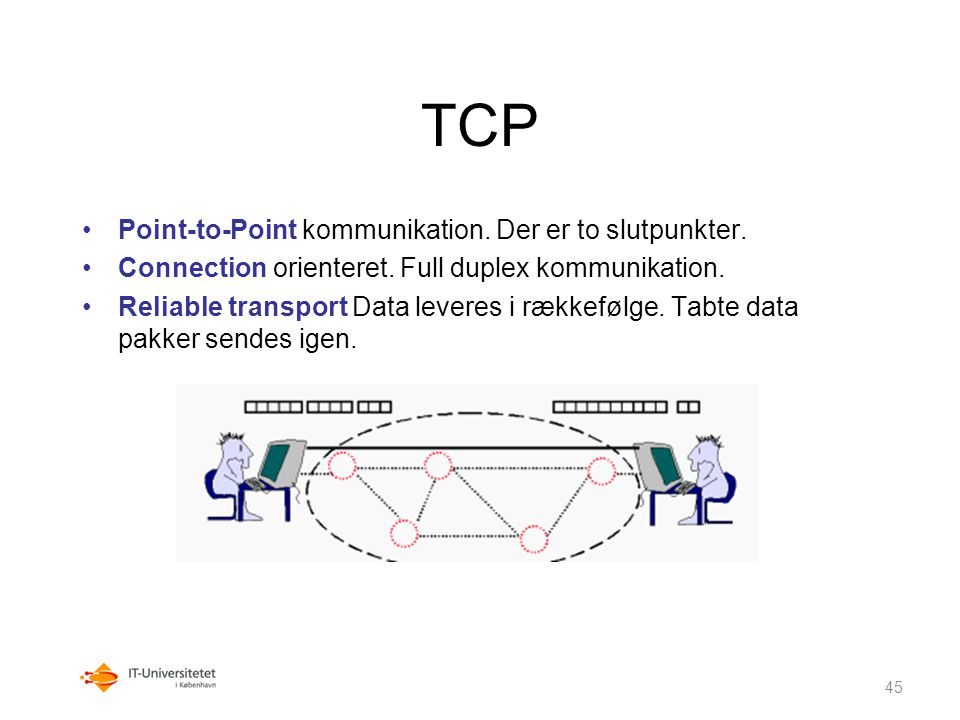 TCP Point-to-Point kommunikation. Der er to slutpunkter.