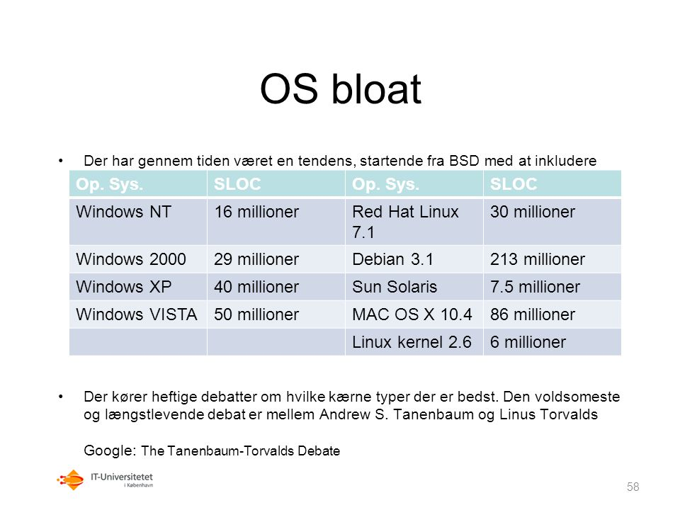 OS bloat Op. Sys. SLOC Windows NT 16 millioner Red Hat Linux 7.1