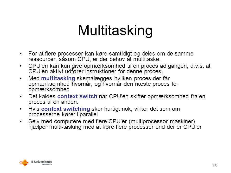 Multitasking For at flere processer kan køre samtidigt og deles om de samme ressourcer, såsom CPU, er der behov at multitaske.