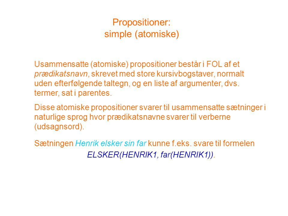 Propositioner: simple (atomiske)