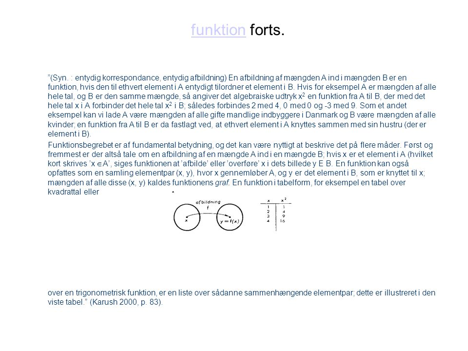 funktion forts.