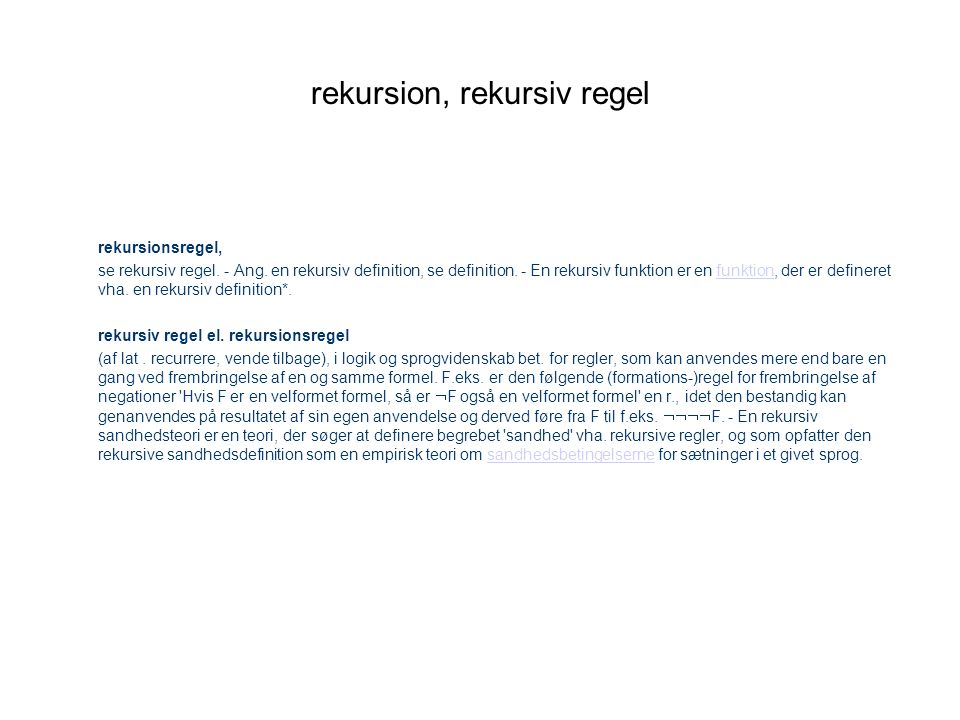 rekursion, rekursiv regel