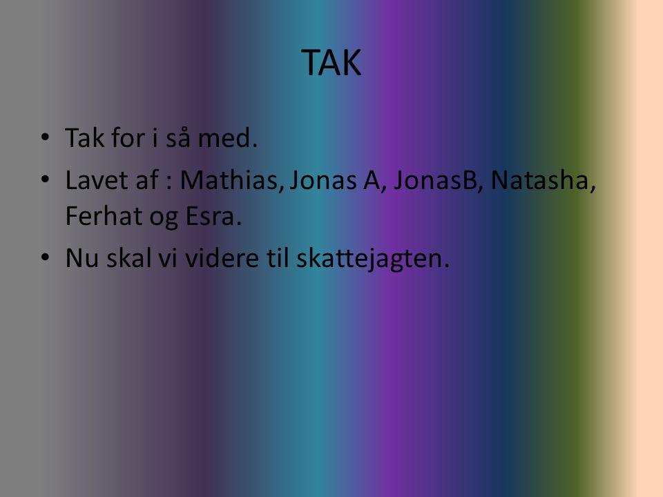 TAK Tak for i så med. Lavet af : Mathias, Jonas A, JonasB, Natasha, Ferhat og Esra.