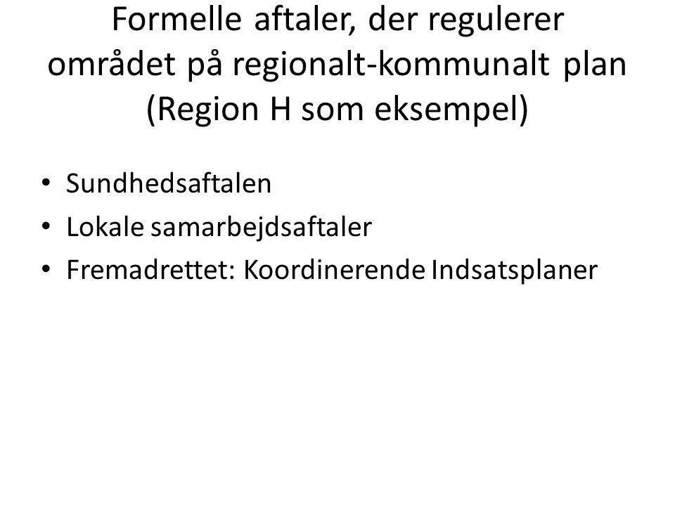 Formelle aftaler, der regulerer området på regionalt-kommunalt plan (Region H som eksempel)