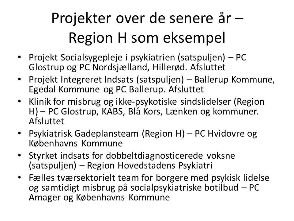 Projekter over de senere år – Region H som eksempel