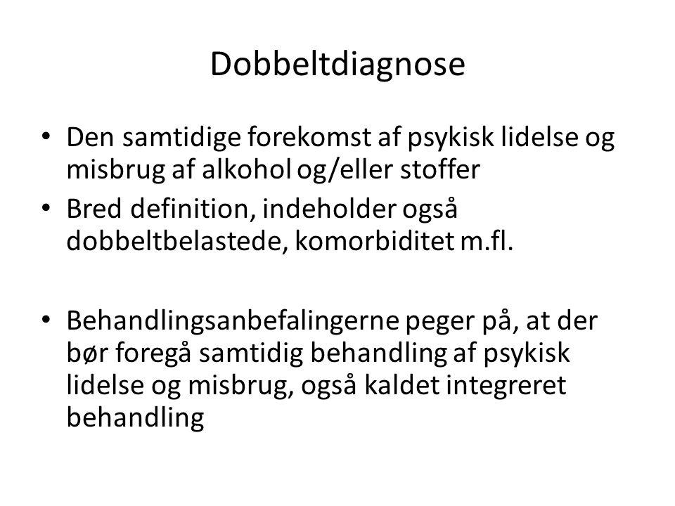 Dobbeltdiagnose Den samtidige forekomst af psykisk lidelse og misbrug af alkohol og/eller stoffer.