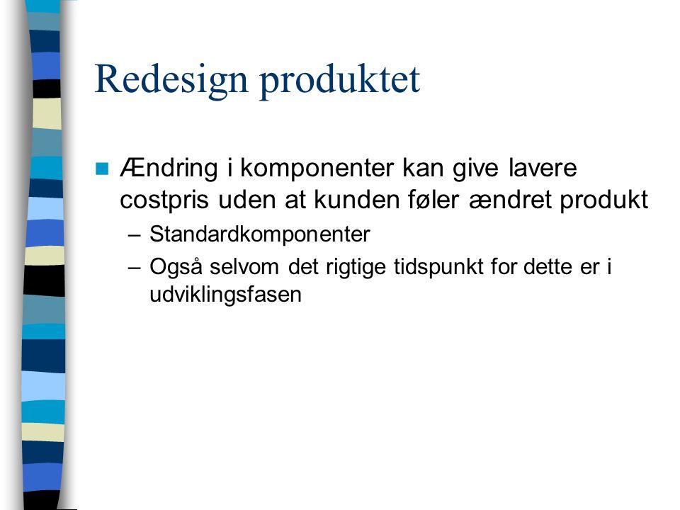 Redesign produktet Ændring i komponenter kan give lavere costpris uden at kunden føler ændret produkt.