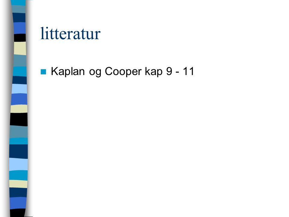 litteratur Kaplan og Cooper kap 9 - 11