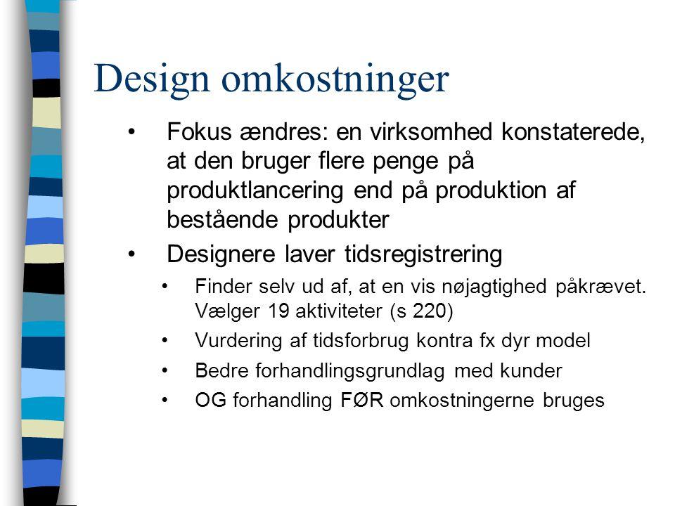 Design omkostninger Fokus ændres: en virksomhed konstaterede, at den bruger flere penge på produktlancering end på produktion af bestående produkter.