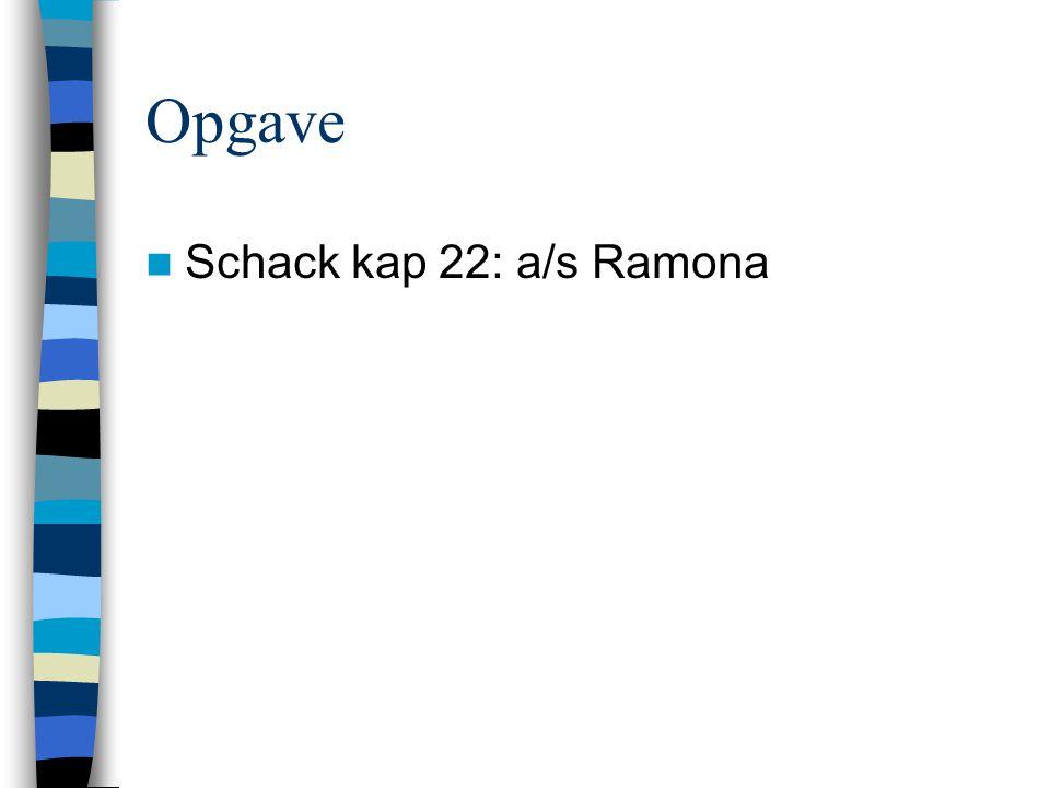 Opgave Schack kap 22: a/s Ramona