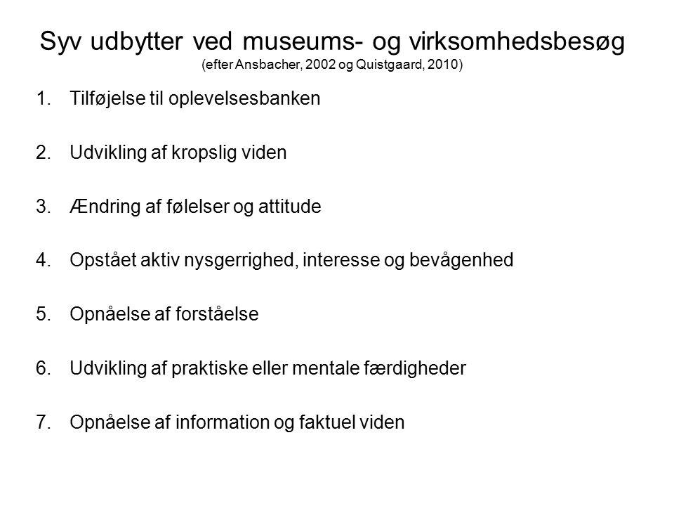 Syv udbytter ved museums- og virksomhedsbesøg (efter Ansbacher, 2002 og Quistgaard, 2010)