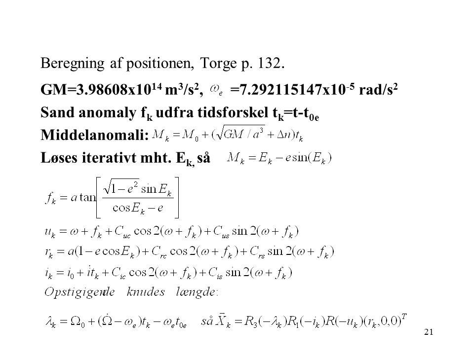 Beregning af positionen, Torge p. 132.