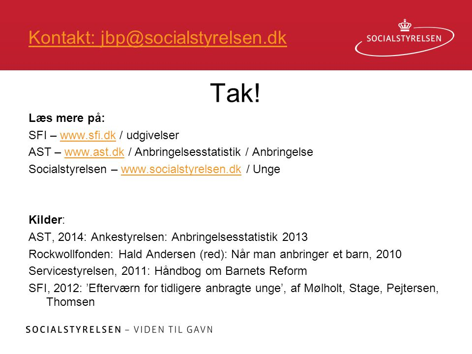 Kontakt: jbp@socialstyrelsen.dk