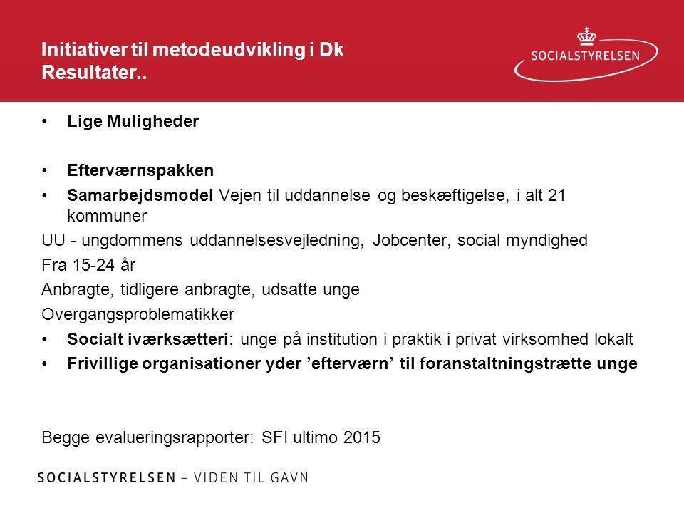 Initiativer til metodeudvikling i Dk Resultater..