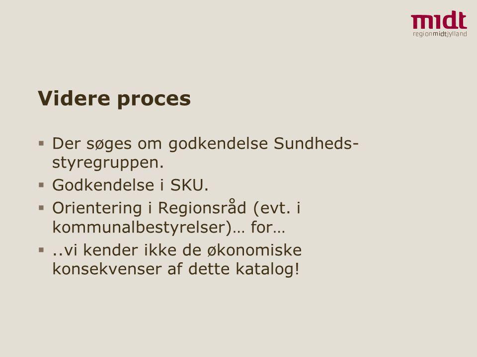 Videre proces Der søges om godkendelse Sundheds-styregruppen.