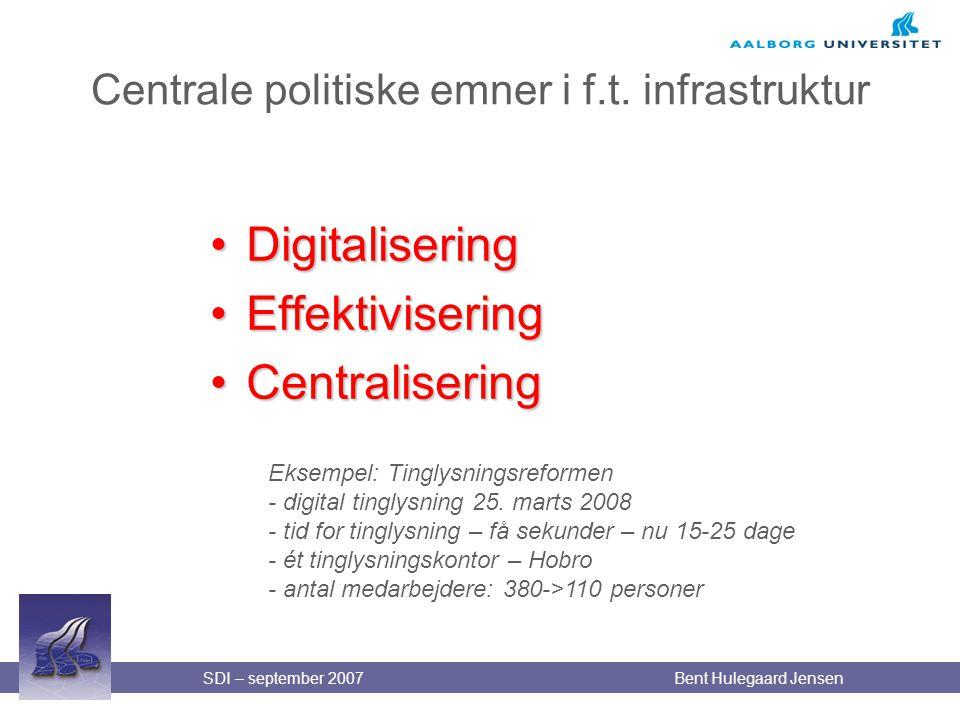 Centrale politiske emner i f.t. infrastruktur