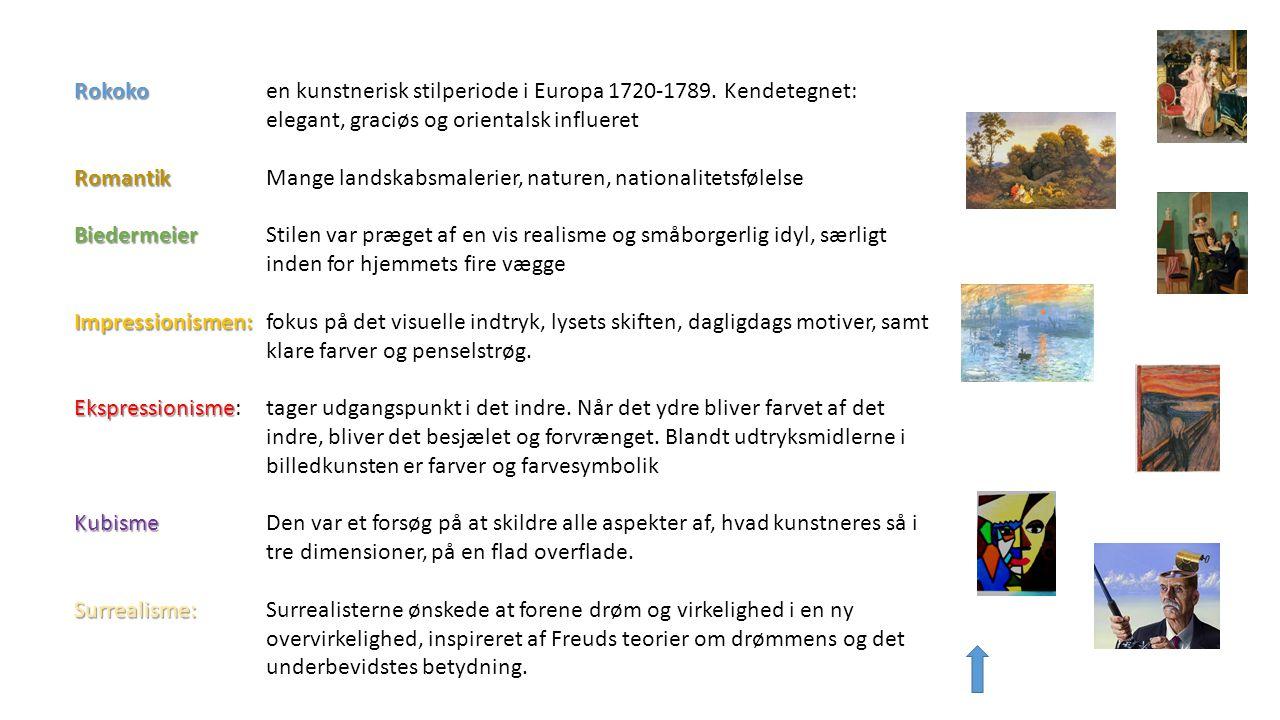 Rokoko. en kunstnerisk stilperiode i Europa 1720-1789. Kendetegnet: