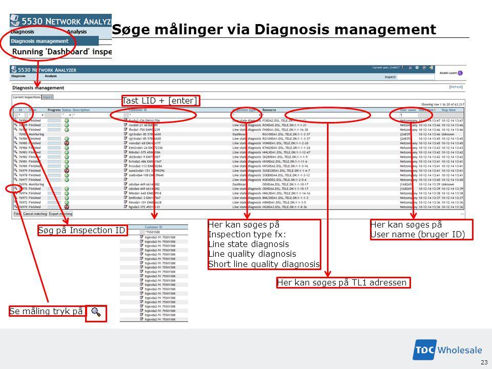 Søge målinger via Diagnosis management