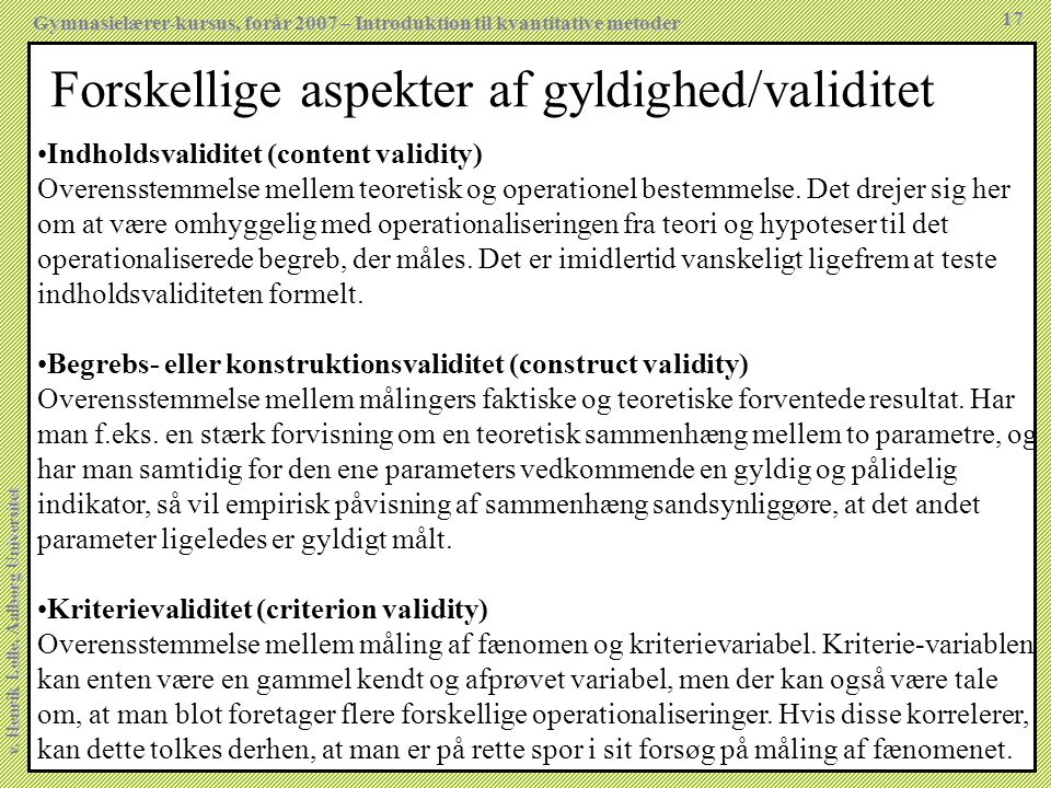 Forskellige aspekter af gyldighed/validitet