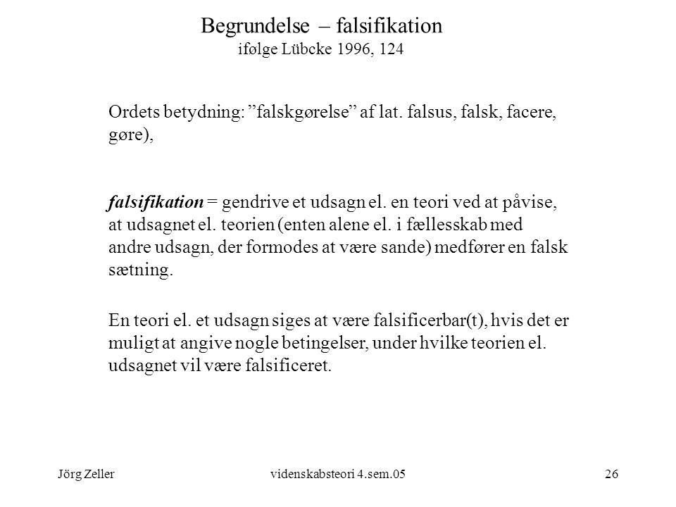 Begrundelse – falsifikation ifølge Lübcke 1996, 124