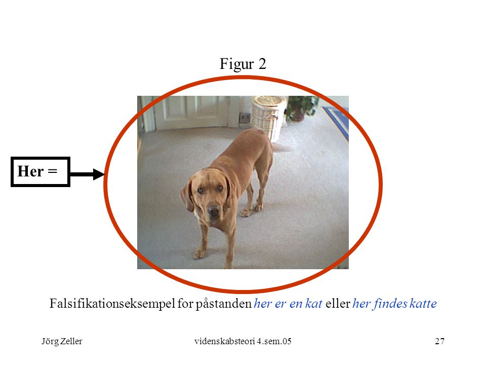 Figur 2 Her = Falsifikationseksempel for påstanden her er en kat eller her findes katte. Jörg Zeller.
