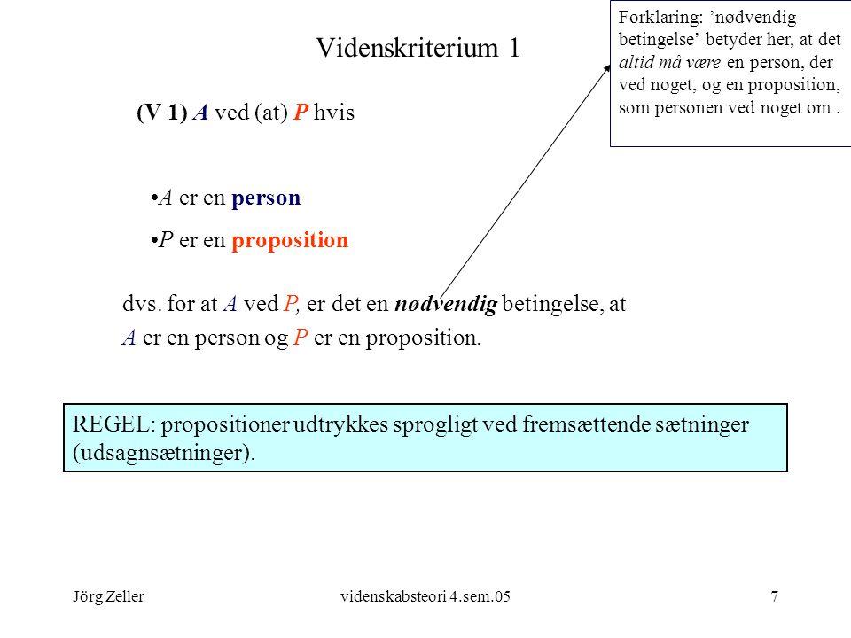 Videnskriterium 1 (V 1) A ved (at) P hvis A er en person