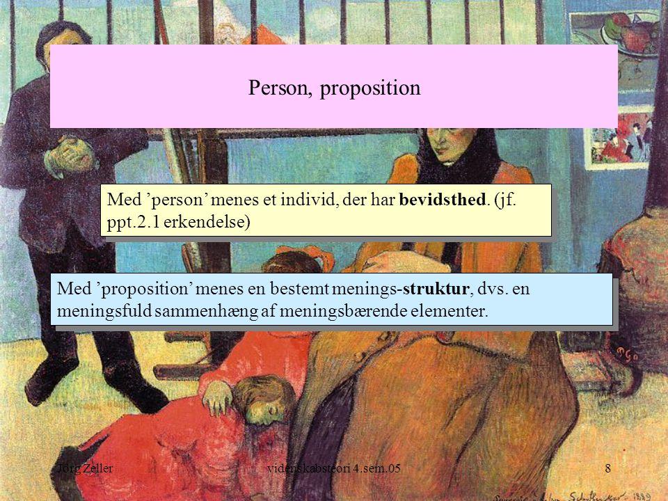 Person, proposition Med 'person' menes et individ, der har bevidsthed. (jf. ppt.2.1 erkendelse)
