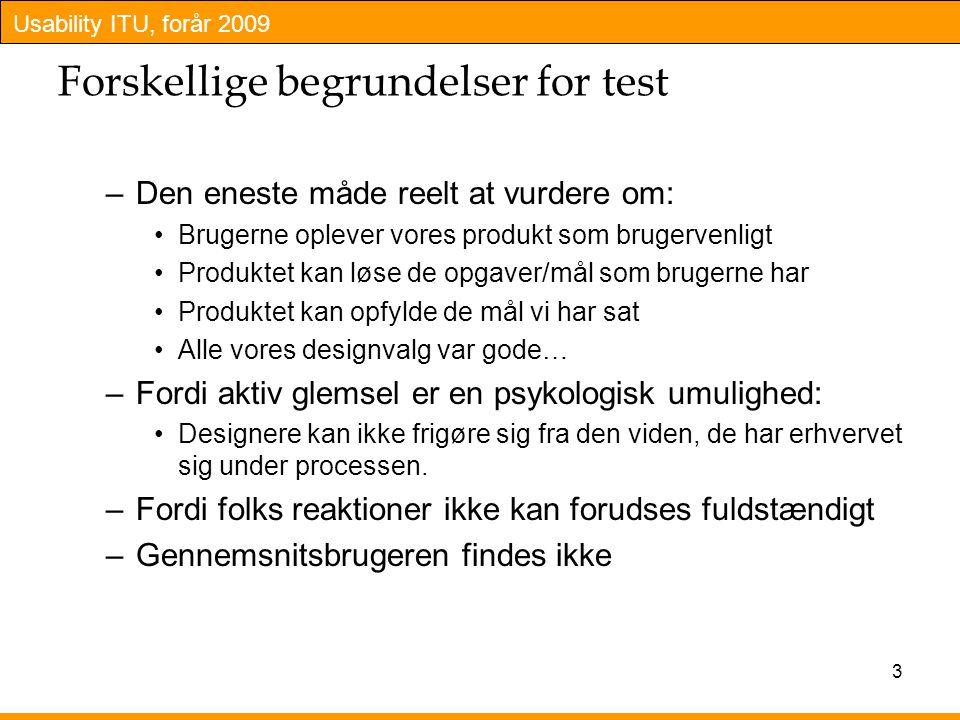 Forskellige begrundelser for test