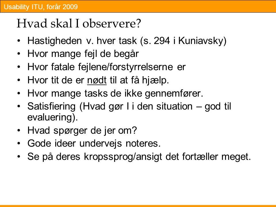 Hvad skal I observere Hastigheden v. hver task (s. 294 i Kuniavsky)