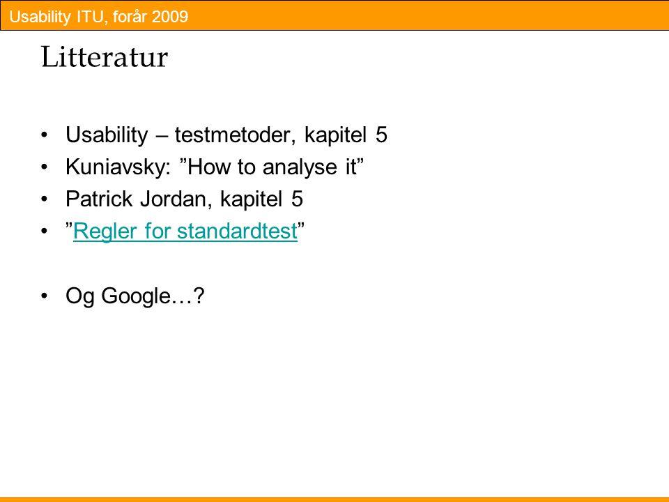 Litteratur Usability – testmetoder, kapitel 5