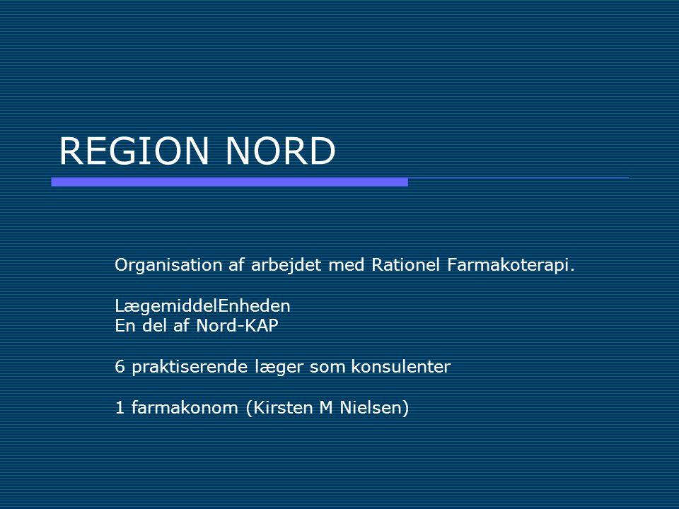 REGION NORD Organisation af arbejdet med Rationel Farmakoterapi.