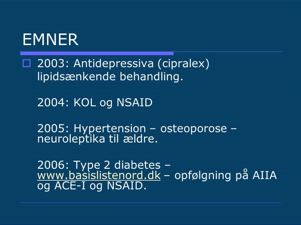 EMNER 2003: Antidepressiva (cipralex) lipidsænkende behandling.