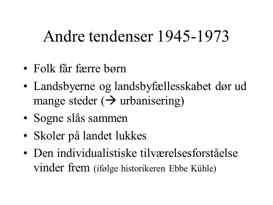 Andre tendenser 1945-1973 Folk får færre børn