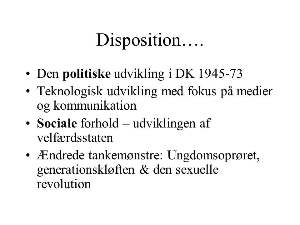 Disposition…. Den politiske udvikling i DK 1945-73
