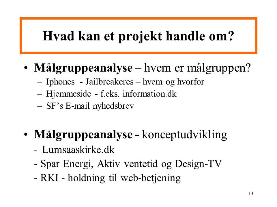 Hvad kan et projekt handle om