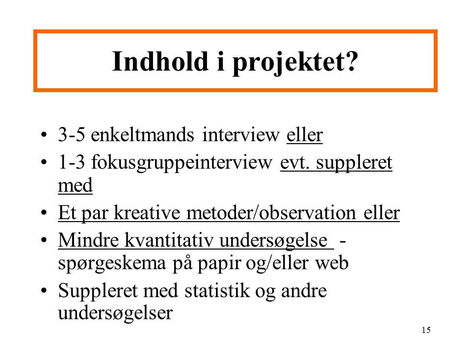 Indhold i projektet 3-5 enkeltmands interview eller