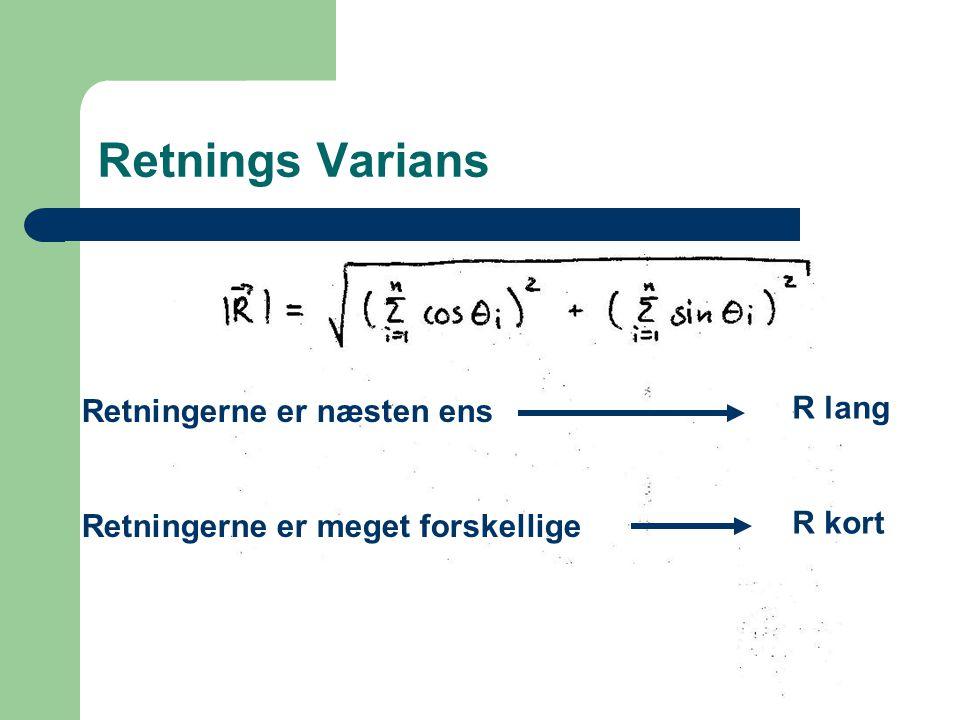 Retnings Varians R lang Retningerne er næsten ens R kort