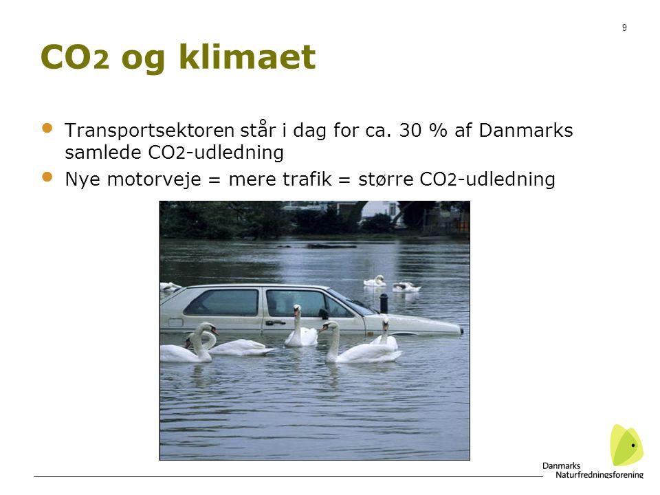 CO2 og klimaet Transportsektoren står i dag for ca. 30 % af Danmarks samlede CO2-udledning. Nye motorveje = mere trafik = større CO2-udledning.